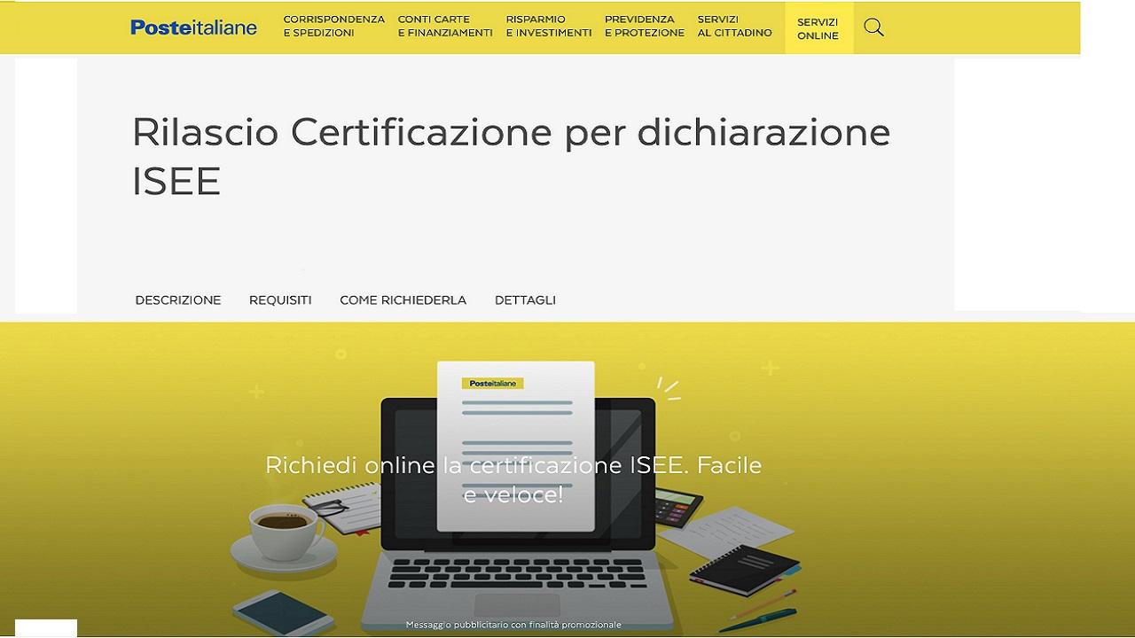 Dato Poste per certificazione Isee ora anche on line