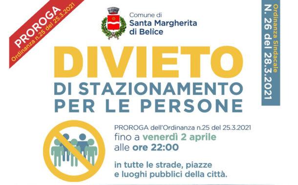 Santa Margherita Belice, il sindaco proroga divieto di stazionamento in tutte le strade, piazze e luoghi pubblici
