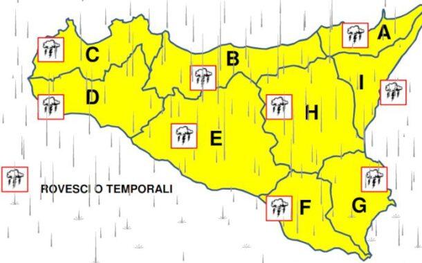 Meteo, allerta gialla in tutta la Sicilia per le prossime 24 ore