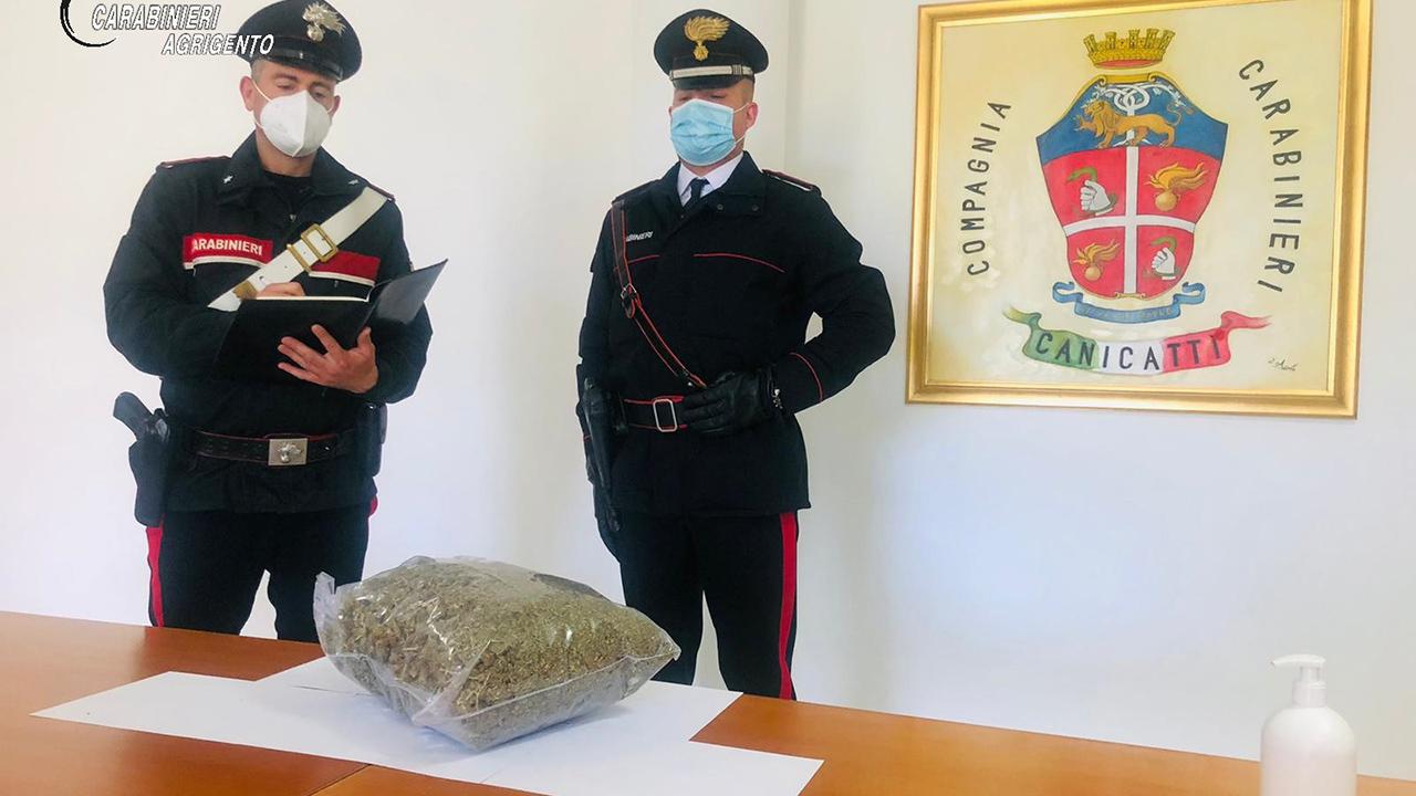 Droga, blitz a Canicattì: sequestrati 2 chili di marijuana