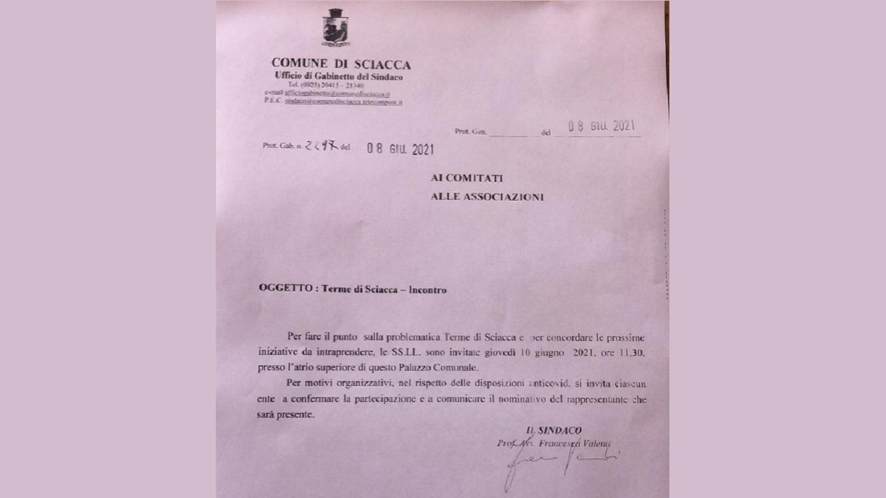 Terme, sindaco Valenti: